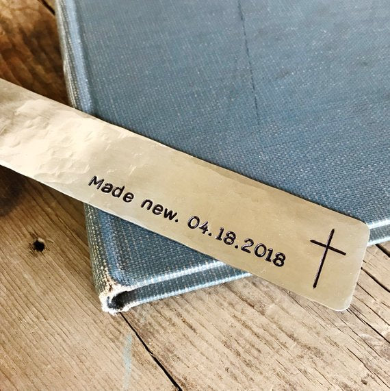 Made New Cross Date Bookmark, Adult Teen Baptism Gift - Bookmark - [PearlieGirl]
