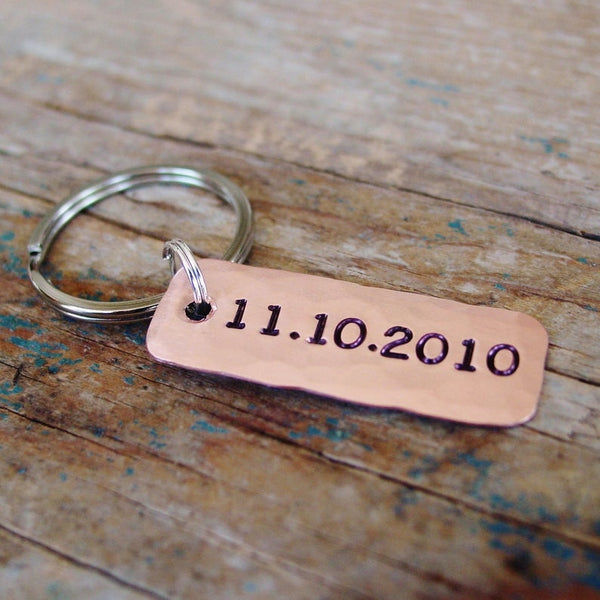 Personalized Date Keychain in Copper - PearlieGirl