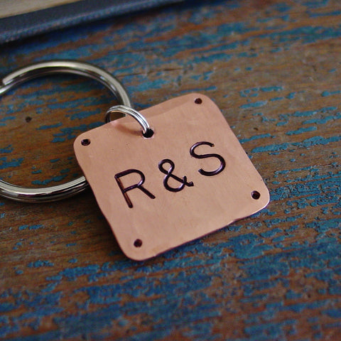 Couple Initials Keychain | Personalized Gifts | Hand Stamped - PearlieGirl