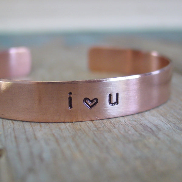 I Love You Copper Cuff Bracelet with Personalized Date - Cuff Bracelet - [PearlieGirl]