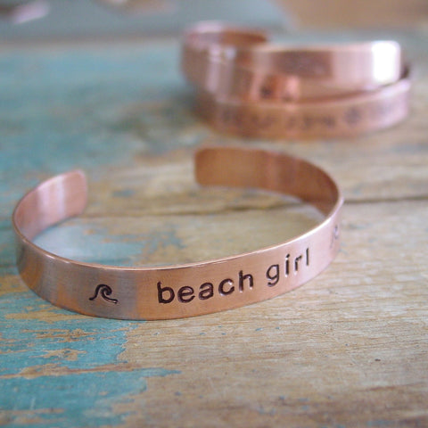 Beach Girl Copper Cuff Bracelet, Surfer Girl Wave Jewelry - PearlieGirl