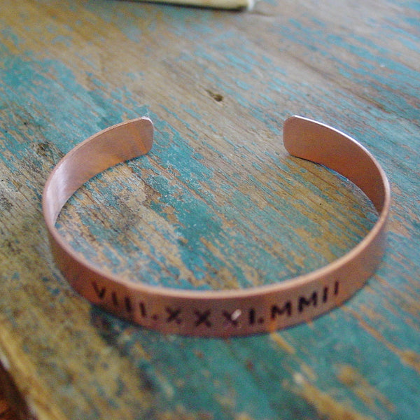 Womens Roman Numeral Bracelet | Copper or Brass - PearlieGirl