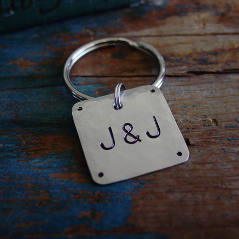 Couple Initials Keychain | Hand Stamped Metal | Personalized Gift - Keychain - [PearlieGirl]