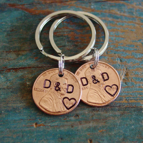 Copper Stamped Penny Keychain Set, Personalized Couple Initials - Penny Keychain - [PearlieGirl]