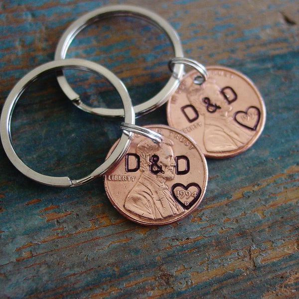 Copper Stamped Penny Keychain Set, Personalized Couple Initials - PearlieGirl