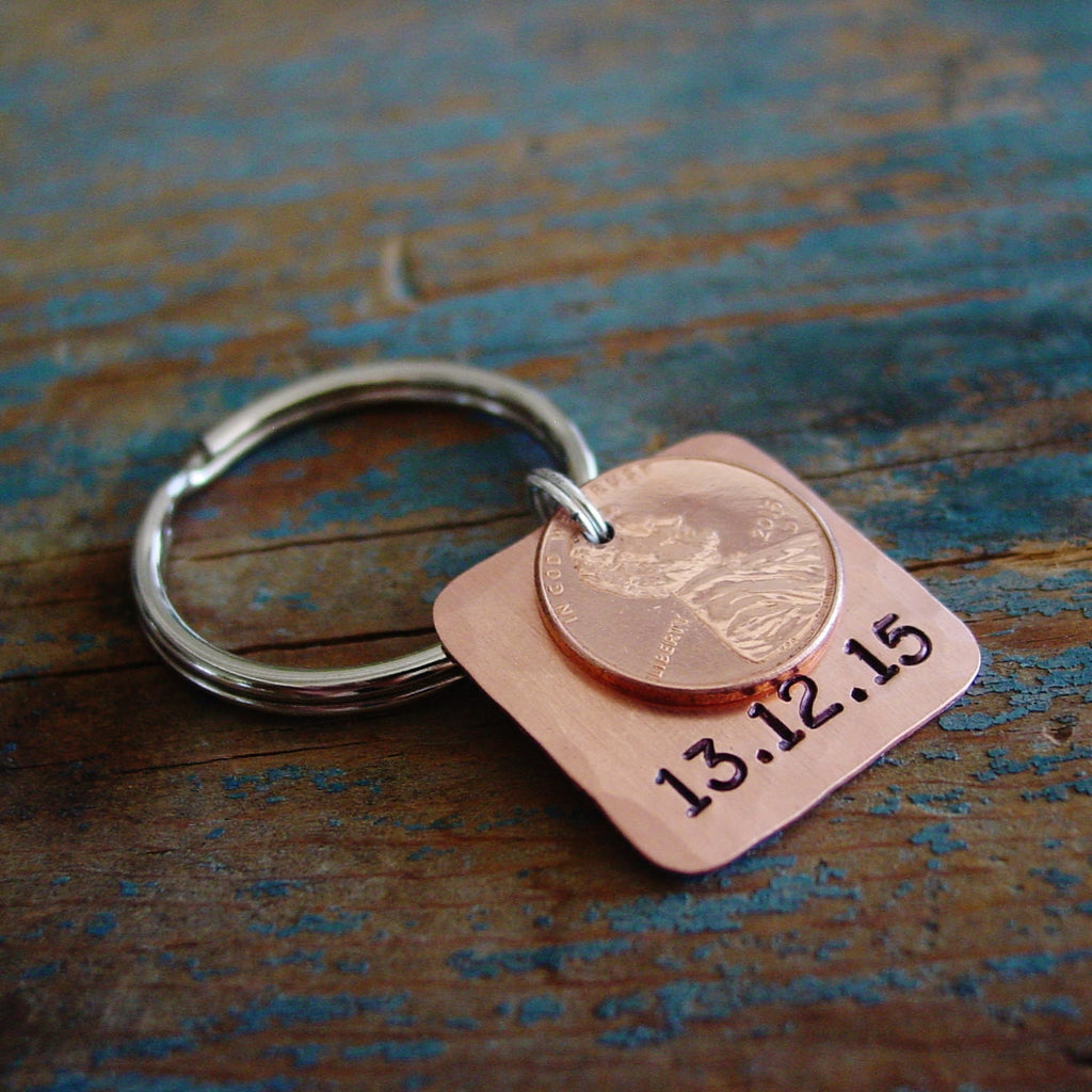 Stamped Penny Keychain | Copper 7th Anniversary Gift - Penny Keychain - [PearlieGirl]
