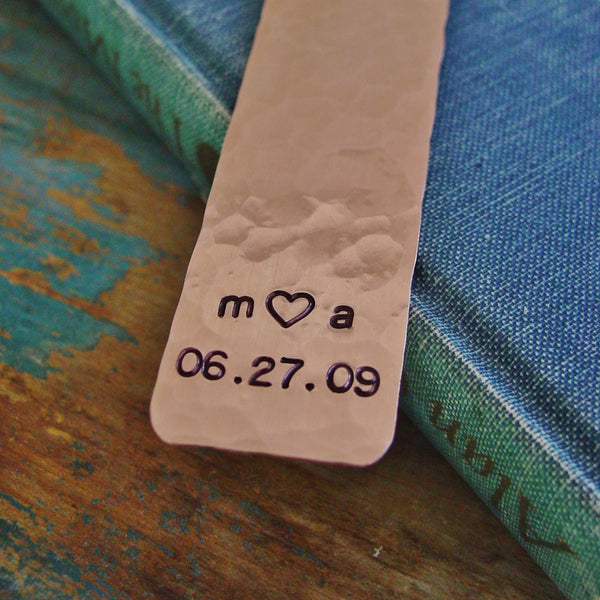 Couples Initials Bookmark | Customized Date | Copper Anniversary - PearlieGirl