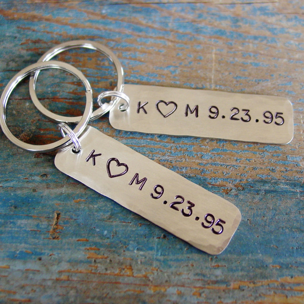 Couples Gift Set | 2 Personalized Keychains | Couple Initials with Custom Date - PearlieGirl