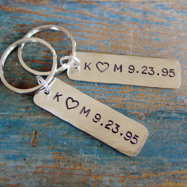 Couples Gift Set | 2 Personalized Keychains | Couple Initials with Custom Date - Keychain Set - [PearlieGirl]