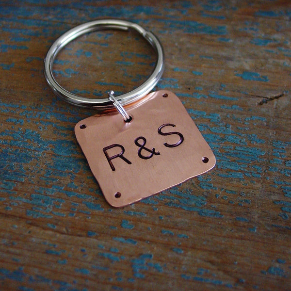Couple Initials Keychain | Personalized Gifts | Hand Stamped - Keychain - [PearlieGirl]