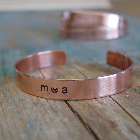 Couple Initials Bracelet | Hand Stamped Cuff | Romantic Gift - PearlieGirl