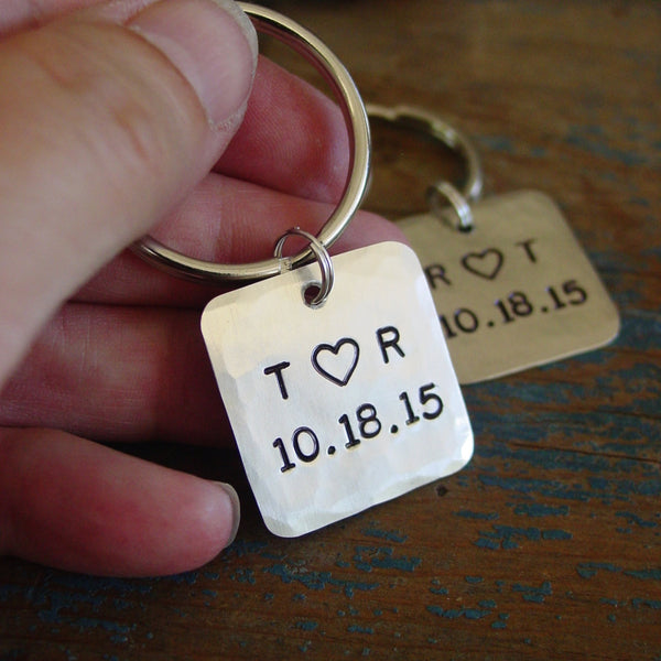 Couple Initials & Date Silver Keychain - Keychain - [PearlieGirl]