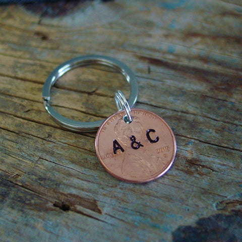 1st Anniversary Penny Keychain, Couple Initials - Penny Keychain - [PearlieGirl]