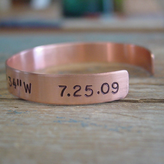 I Love You Copper Cuff Bracelet with Personalized Date - PearlieGirl