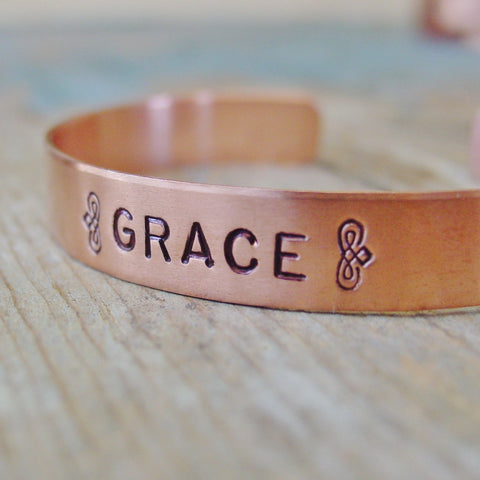 Womens Word/Name Cuff Bracelet | Copper or Brass - Cuff Bracelet - [PearlieGirl]
