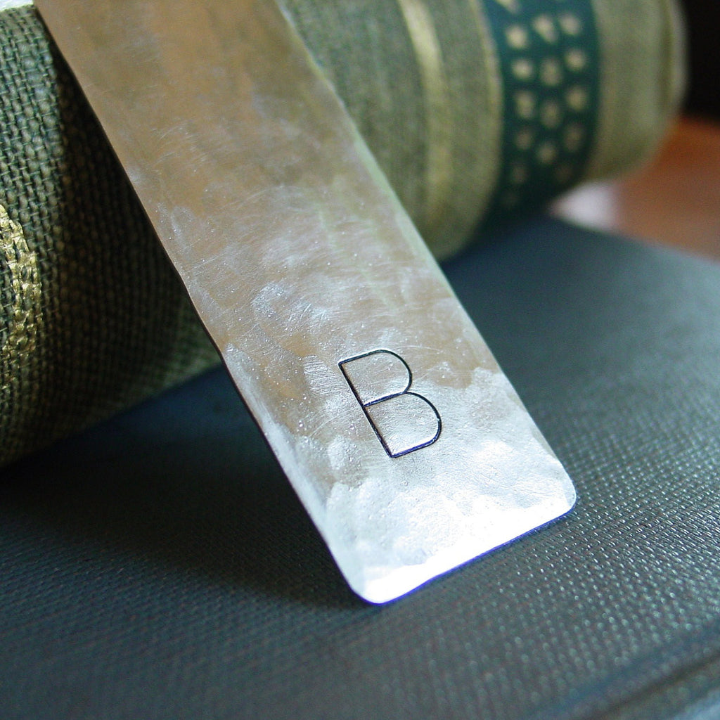 Single Initial Monogram Bookmark in Silver Nickel - Bookmark - [PearlieGirl]