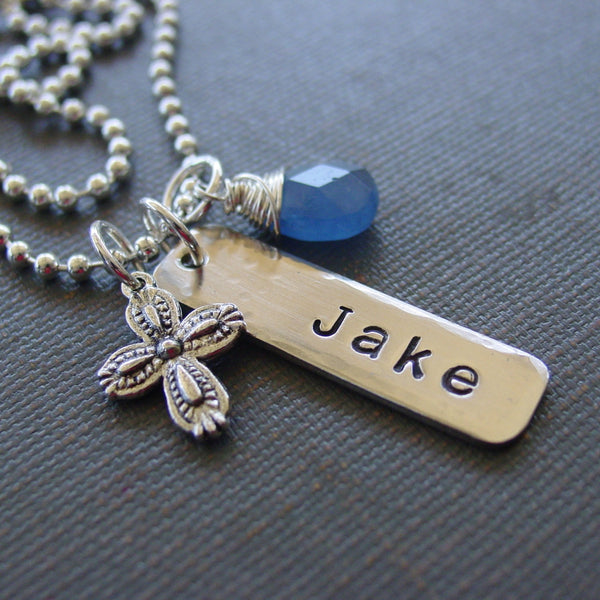 Silver Cross Name Necklace - Necklace - [PearlieGirl]