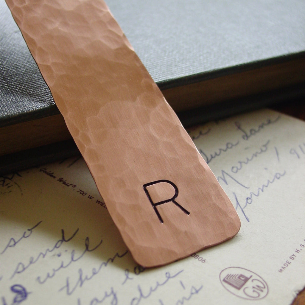 Initial Bookmark | Hammered Copper Gift - Bookmark - [PearlieGirl]