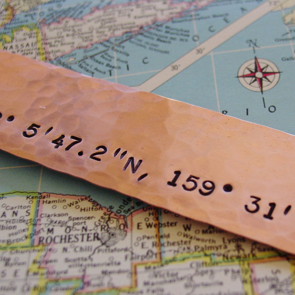 Latitude Longitude Bookmark | Copper Gift | Custom GPS Coordinates - Bookmark - [PearlieGirl]
