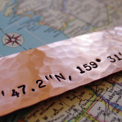 Latitude Longitude Bookmark, Custom Location, Copper Anniversary Gift - Bookmark - [PearlieGirl]