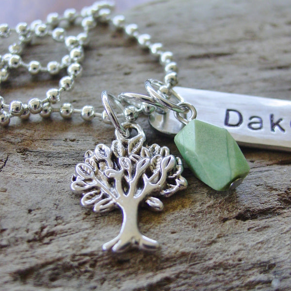 Tree Chrysoprase Necklace | Personalized Name Jewelry - Necklace - [PearlieGirl]