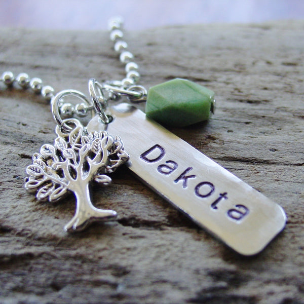Tree Chrysoprase Necklace | Personalized Name Jewelry - PearlieGirl