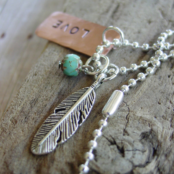 Personalized Feather Necklace | Word, Name or Date | Boho Chic Jewelry - Necklace - [PearlieGirl]