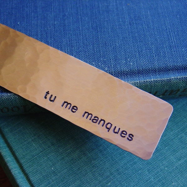 Tu Me Manques Copper Bookmark - PearlieGirl