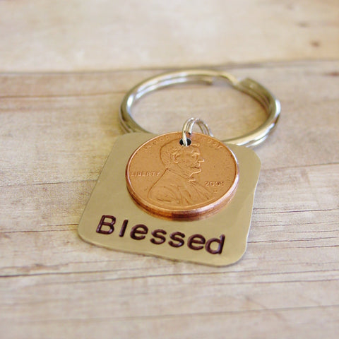 Blessed Stamped Penny Keychain, Personalized Date, 1 Year Anniversary Gift - Penny Keychain - [PearlieGirl]