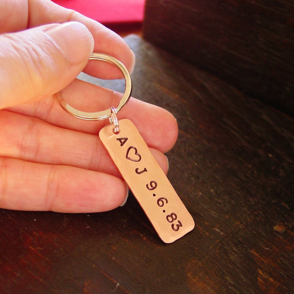 Personalized Keychain | Couples Initials and Date - PearlieGirl