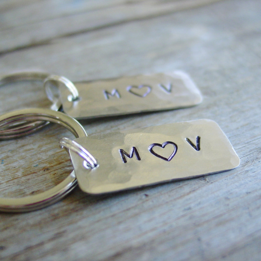 Couple Keychains Gift Set of 2 | Silver Personalized Initials - Keychain Set - [PearlieGirl]