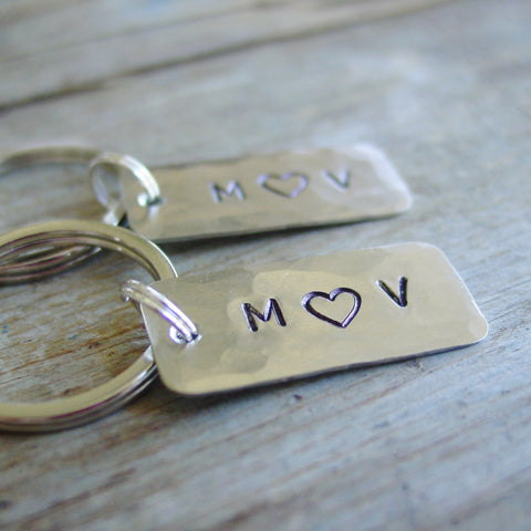 Couple Keychains Gift Set of 2 | Silver Personalized Initials - PearlieGirl