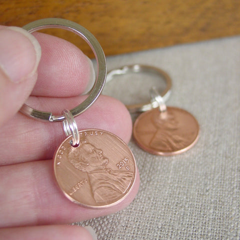 Lucky Penny Key Chain Set | Year of Choice - Penny Keychain - [PearlieGirl]
