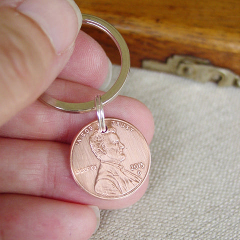 Lucky Penny Key Chain, Year of Choice, Copper Anniversary Gift - Penny Keychain - [PearlieGirl]