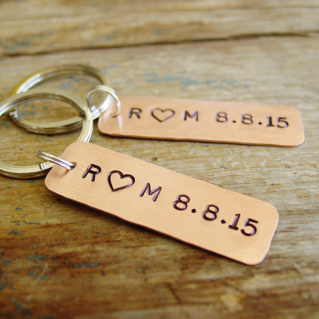 Set of 2 Copper Anniversary Keychains, Personalized Initials & Date - PearlieGirl