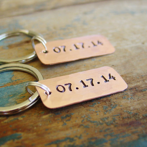 Couples Gift Set | Special Date Keychains in Copper - Keychain Set - [PearlieGirl]