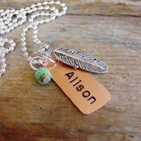 Feather Necklace, Personalized Charm, Rustic Boho Style - PearlieGirl