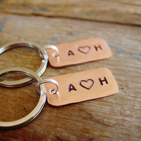 Couple Keychains Matching Set of 2 | Personalized Initials - PearlieGirl