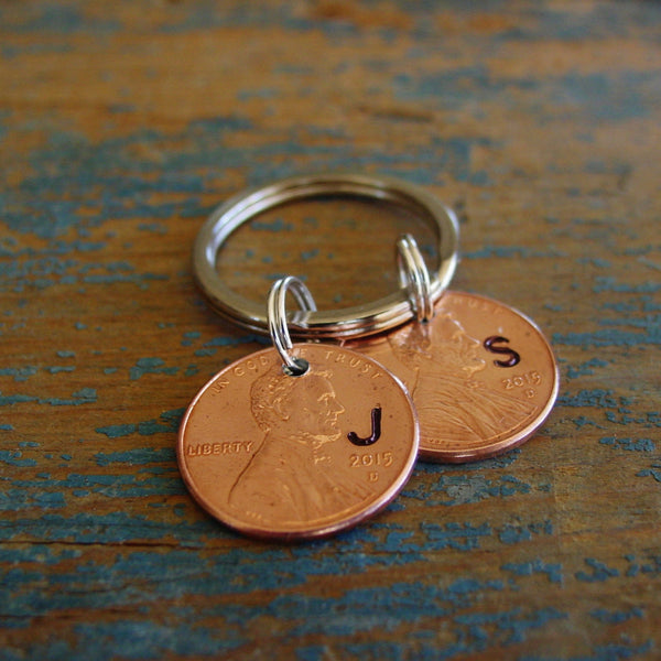 Stamped Penny Key Chain, Year of Choice, Personalized Initial - Penny Keychain - [PearlieGirl]