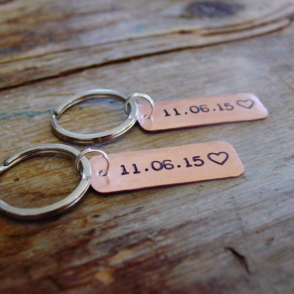 Couples Gift Set | Personalized Date Keychains | Set of 2 - PearlieGirl