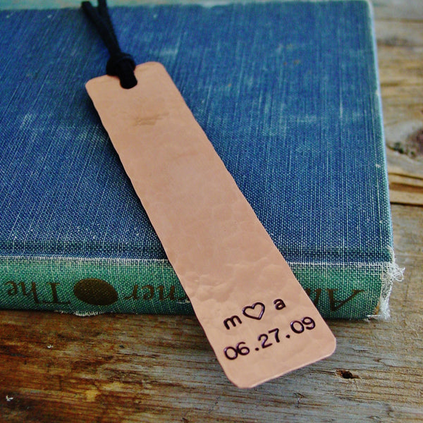 Couples Initials Bookmark | Customized Date | Copper Anniversary - Bookmark - [PearlieGirl]