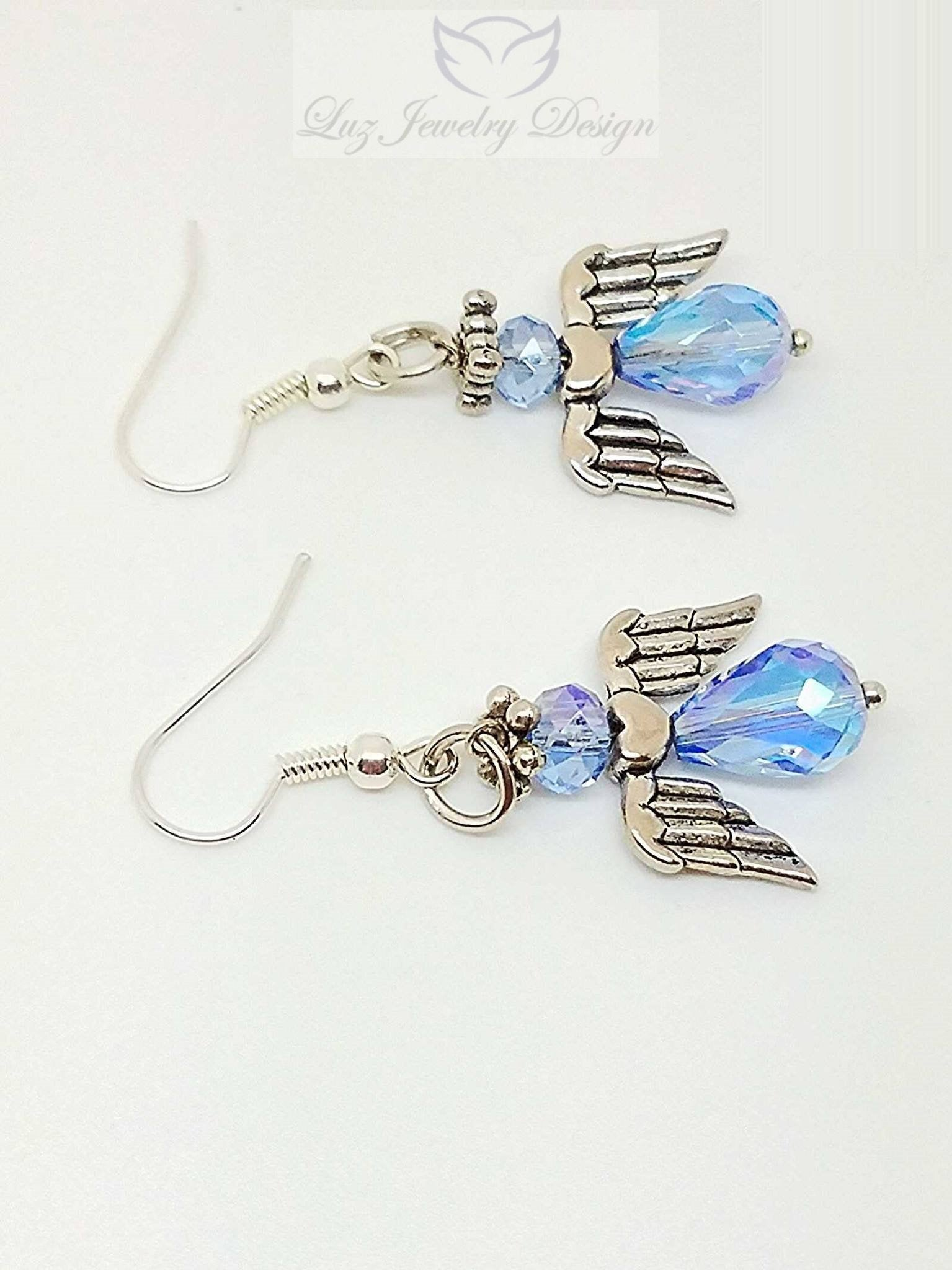 Blue angel earrings - handcrafted Jewelry Luzjewelrydesign