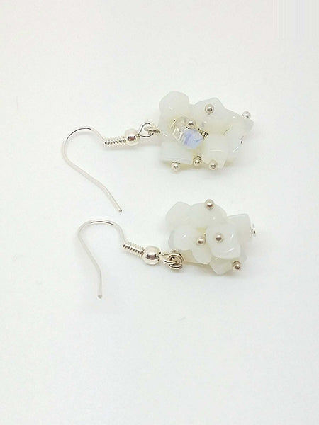 Clear white earrings - Luzjewelrydesign   - 1