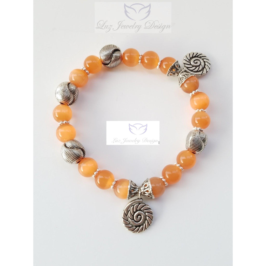 Orange cat eye bracelet - Luzjewelrydesign   - 1