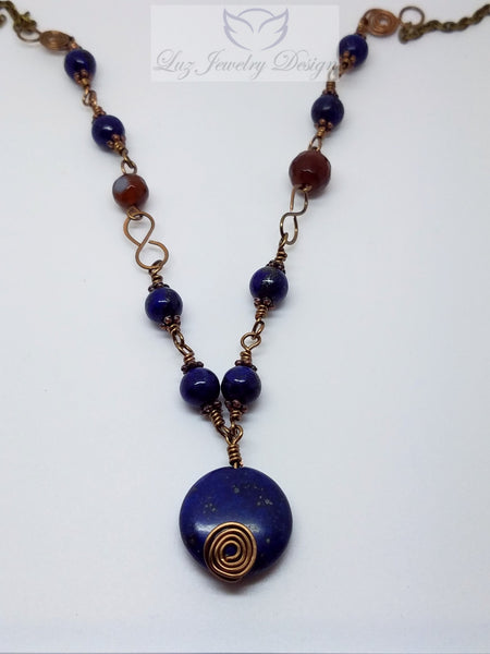 Lapis lazuli wire wrapping ruby agate brass necklace - Luzjewelrydesign   - 2