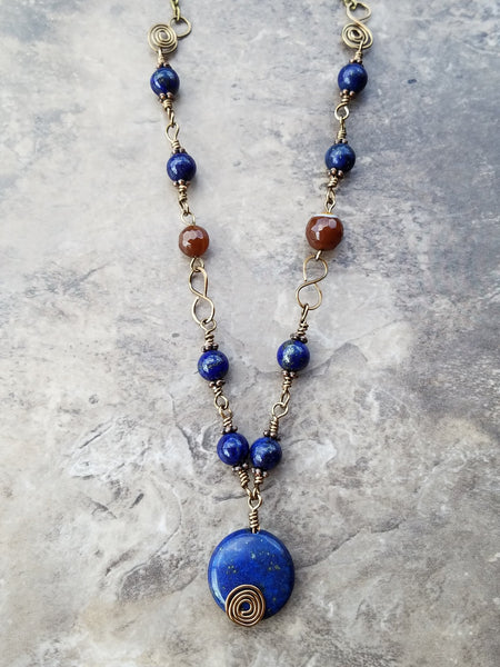 Lapis lazuli wire wrapping ruby agate brass necklace - Luzjewelrydesign   - 4