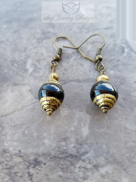 Black Tibetan earrings - Luzjewelrydesign   - 2