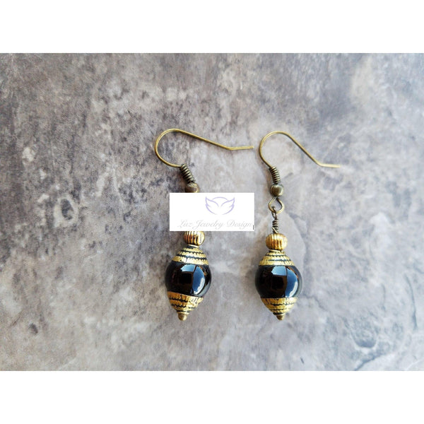 Black Tibetan earrings - Luzjewelrydesign   - 3
