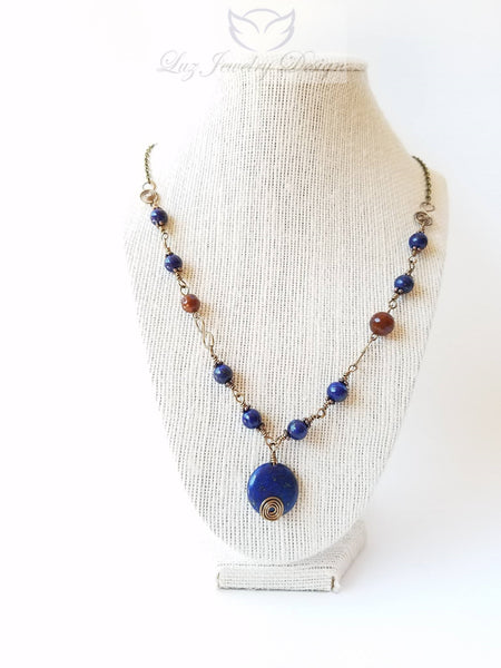 Lapis lazuli wire wrapping ruby agate brass necklace - Luzjewelrydesign   - 1