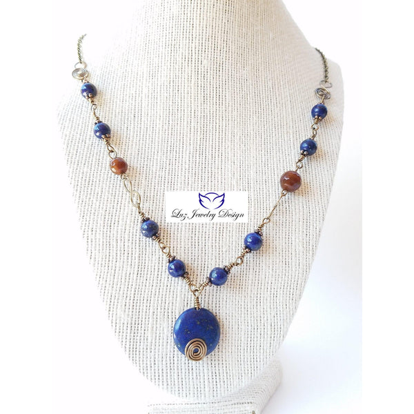 Lapis lazuli wire wrapping ruby agate brass necklace - Luzjewelrydesign   - 3